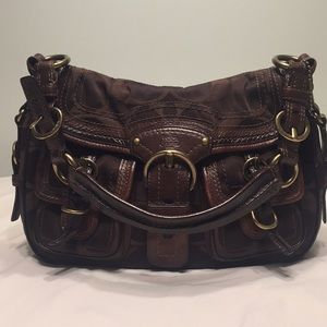 Coach handbag combo leather and fabric 9X13 brown